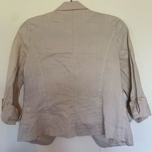 Poetry Jackets & Coats - Poetry 100% Linen Tan Blazer Size Small One Button